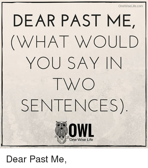 Memes, 🤖, and Owl: OneWise Life.com  DEAR PAST ME,  WHAT WOULD  YOU SAY IN  TWO  SENTENCES  OWL  One Wise Life Dear Past Me,