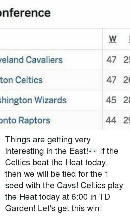 td garden: onference  eland Cavaliers  ton Celtics  hington Wizards  onto Raptors  47 2!  47 26  45 28  44 29 Things are getting very interesting in the East!👀 If the Celtics beat the Heat today, then we will be tied for the 1 seed with the Cavs! Celtics play the Heat today at 6:00 in TD Garden! Let's get this win!
