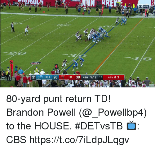 Memes, Cbs, and House: ONFL  20 80-yard punt return TD!  Brandon Powell (@_Powellbp4) to the HOUSE. #DETvsTB  📺: CBS https://t.co/7iLdpJLqgv