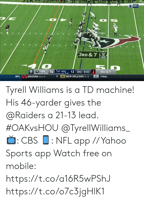 Arizona: ONFL  3RD & 7  :02  OAK  14  (3-3)  HOU  13 3RD 8:02 2  3RD & 7  4-3)  NEW ORLEANS (7-1)  ARIZONA (3-4-1)  31  NFL  FINAL Tyrell Williams is a TD machine!   His 46-yarder gives the @Raiders a 21-13 lead. #OAKvsHOU @TyrellWilliams_  📺: CBS 📱: NFL app // Yahoo Sports app Watch free on mobile: https://t.co/a16R5wPShJ https://t.co/o7c3jgHlK1