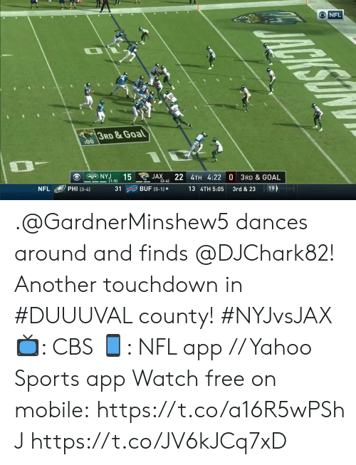 Dances: ONFL  95  3RD &Goal  :00  NYJ  15  (1-5)  JAX  (3-4)  BUF (5-1)  22 4TH 4:22 0 3RD & GOAL  NFL  PHI (3-4)  31  13 4TH 5:05  3rd & 23  19  MALCKSON .@GardnerMinshew5 dances around and finds @DJChark82!  Another touchdown in #DUUUVAL county! #NYJvsJAX  📺: CBS 📱: NFL app // Yahoo Sports app Watch free on mobile: https://t.co/a16R5wPShJ https://t.co/JV6kJCq7xD
