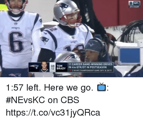 Afc Championship: ONFL  AFC CHAMP  QB  12  TOM  BRADY  11 CAREER GAME-WINNING DRIVES  İN 4TH QTR/OT IN POSTSEASON  2 IN AFC CHAMPIONSHIP GAME 12011&2017) 1:57 left.  Here we go.   📺: #NEvsKC on CBS https://t.co/vc31jyQRca