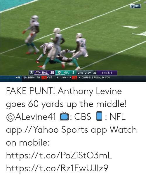 punt: ONFL  BAL 35  MIA  2ND 2:49 25  4TH & 1  TEN 10  NFL  CLE  6  2ND 3:15  N. CHUBB: 6 RUSH, 24 YDS FAKE PUNT!  Anthony Levine goes 60 yards up the middle! @ALevine41  📺: CBS 📱: NFL app // Yahoo Sports app  Watch on mobile: https://t.co/PoZiStO3mL https://t.co/Rz1EwUJlz9