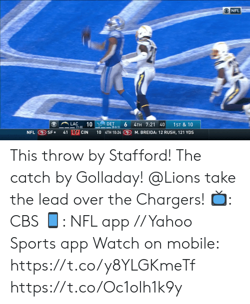 The Catch: ONFL  LAC  DET  6  (0-0-1)  10  1ST &10  4TH 7:21 40  (1-0)  41 EB CIN  10 4TH 10:24  NFL SF  M. BREIDA: 12 RUSH, 121 YDS This throw by Stafford! The catch by Golladay!  @Lions take the lead over the Chargers!  📺: CBS 📱: NFL app // Yahoo Sports app Watch on mobile: https://t.co/y8YLGKmeTf https://t.co/Oc1olh1k9y