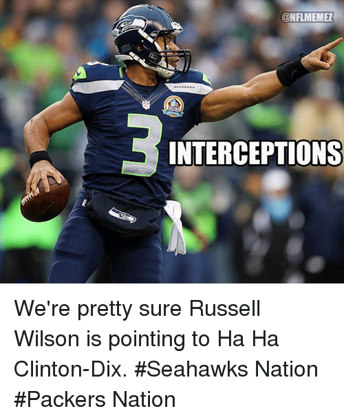 Russell Wilson: ONFLMEMEZ  INTERCEPTIONS We're pretty sure Russell Wilson is pointing to Ha Ha Clinton-Dix.  #Seahawks Nation #Packers Nation