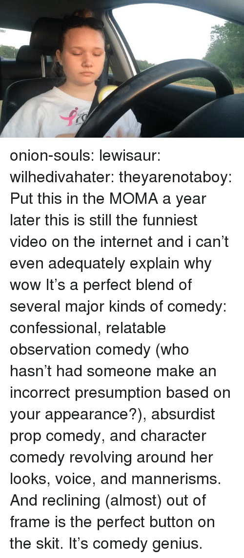 confessional: onion-souls: lewisaur:  wilhedivahater:  theyarenotaboy:  Put this in the MOMA  a year later this is still the funniest video on the internet and i can't even adequately explain why  wow   It's a perfect blend of several major kinds of comedy: confessional, relatable observation comedy (who hasn't had someone make an incorrect presumption based on your appearance?), absurdist prop comedy, and character comedy revolving around her looks, voice, and mannerisms. And reclining (almost) out of frame is the perfect button on the skit. It's comedy genius.