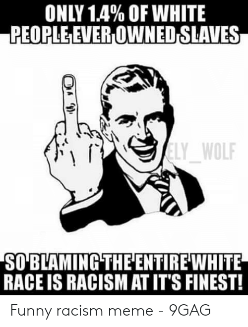 Funny Racist Memes: ONLY 1.4% OF WHITE  PEOPLE EVER OWNED SLAVES  LY WOL  SO BLAMING THEENTIREWHITE  RACE IS RACISM AT IT'S FINEST! Funny racism meme - 9GAG