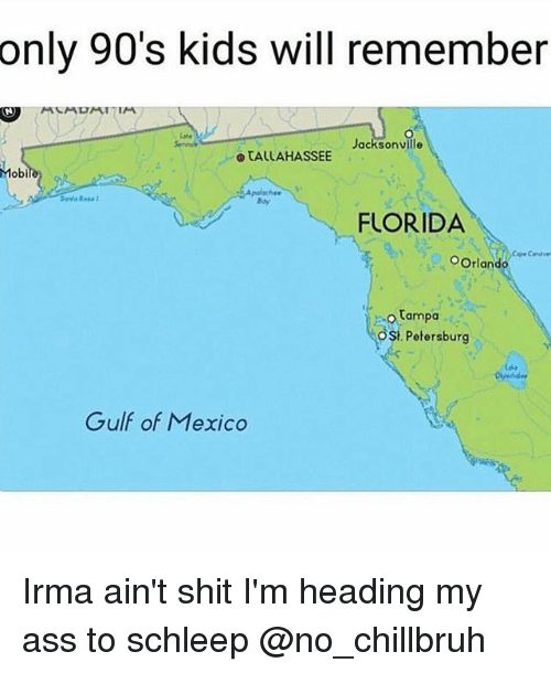 Ass, Funny, and Shit: only 90's kids will remember  Jacksonville  o TALLAHASSEE  Mobi  Boy  FLORIDA  OOrlando  Tampa  ost.  Petersburg  Gulf of Mexico Irma ain't shit I'm heading my ass to schleep @no_chillbruh