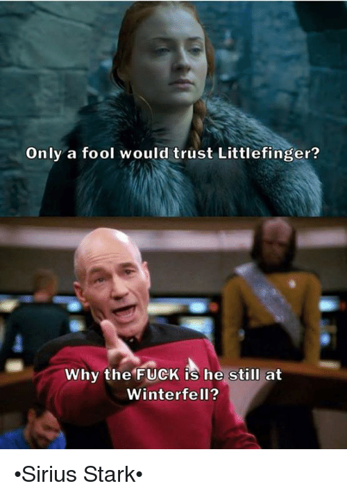 Starked: Only a fool would trust Littlefinger?  Why the FUCK is he still at  Winterfell? •Sirius Stark•