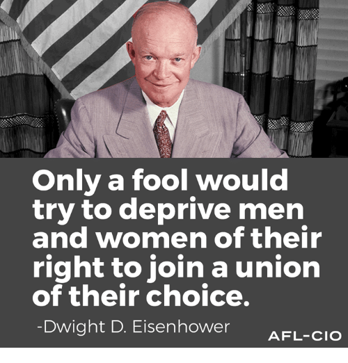afl: Only a fool would  try to deprive men  and women of their  right to join a union  of their choice.  Dwight D. Eisenhower  AFL-CIO