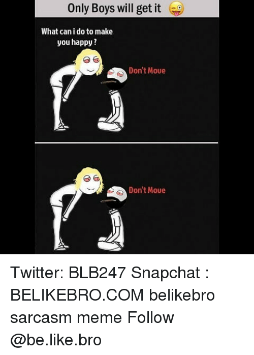 Be Like, Meme, and Memes: Only Boys will get it  What can i do to make  you happy  Don't Moue  Don't Moue Twitter: BLB247 Snapchat : BELIKEBRO.COM belikebro sarcasm meme Follow @be.like.bro