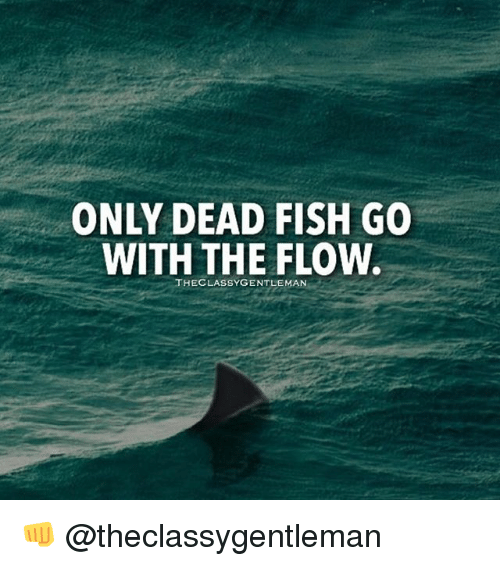 Only dead fish go with the flow the classy gentleman for What goes good with fish