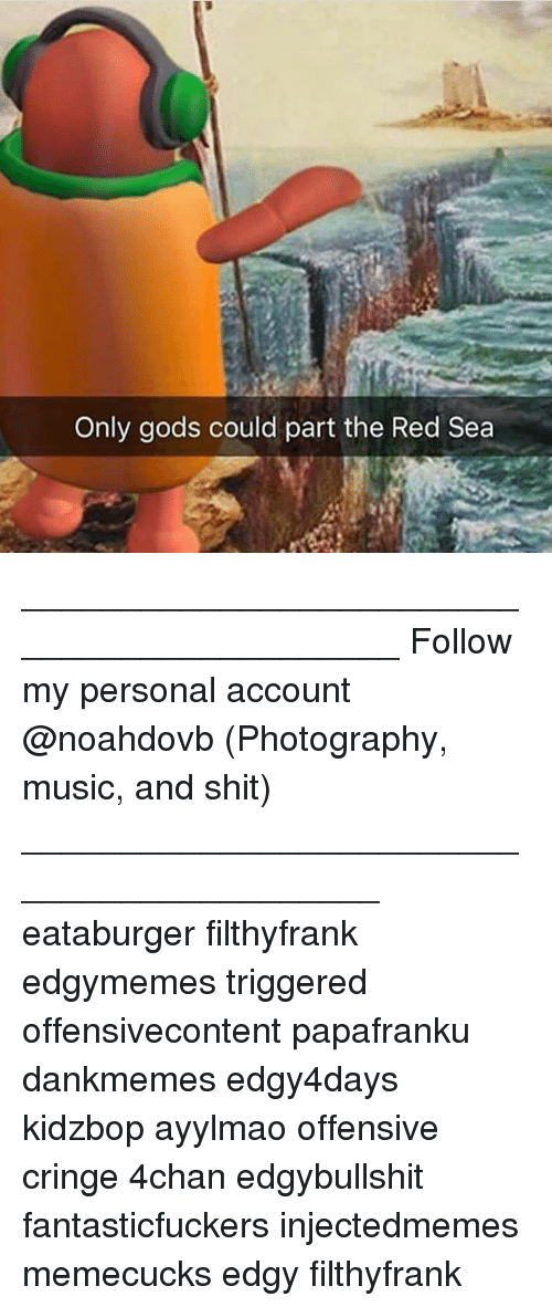 4chan, Memes, and Music: Only gods could part the Red Sea ____________________________________________ Follow my personal account @noahdovb (Photography, music, and shit) ___________________________________________ eataburger filthyfrank edgymemes triggered offensivecontent papafranku dankmemes edgy4days kidzbop ayylmao offensive cringe 4chan edgybullshit fantasticfuckers injectedmemes memecucks edgy filthyfrank