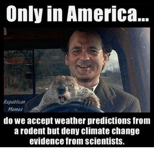 Republican Memes: Only in America...  Republican  Memes  do we accept weather predictions from  a rodent but deny climate chang  evidence from scientists.