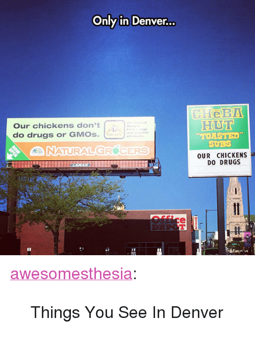 "Drugs, Tumblr, and Blog: Only in Denver...  Our chickens don't  do drugs or GMOs.  HUT  TORSTED  SUBS  OUR CHICKENS  DO DRUGS  -ft  井 <p><a href=""http://awesomesthesia.tumblr.com/post/171089119867/things-you-see-in-denver"" class=""tumblr_blog"">awesomesthesia</a>:</p>  <blockquote><p>Things You See In Denver</p></blockquote>"