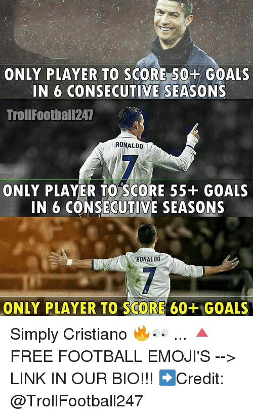 Football, Goals, and Memes: ONLY PLAYER TO SCORE 50+ GOALS  IN 6 CONSECUTIVE SEASONS  TrollFootball247  RONALDO  ONLY PLAYER TO SCORE 55+ GOALS  IN 6 CONSECUTIVE SEASONS  RONALDO  ONLY PLAYER TO SCORE 60+ GOALS Simply Cristiano 🔥👀 ... 🔺FREE FOOTBALL EMOJI'S --> LINK IN OUR BIO!!! ➡️Credit: @TrollFootball247