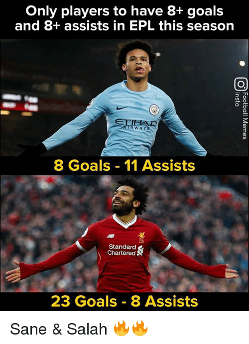 Goals, Memes, and 🤖: Only players to have 8+ goals  and 8+ assists in EPL this season  0  WAYS  8 Goals 11 Assists  Standard  Chartered  23 Goals 8 Assists Sane & Salah 🔥🔥