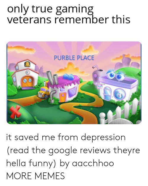 Hella Funny: only true gaming  veterans remember this  PURBLE PLACE it saved me from depression (read the google reviews theyre hella funny) by aacchhoo MORE MEMES