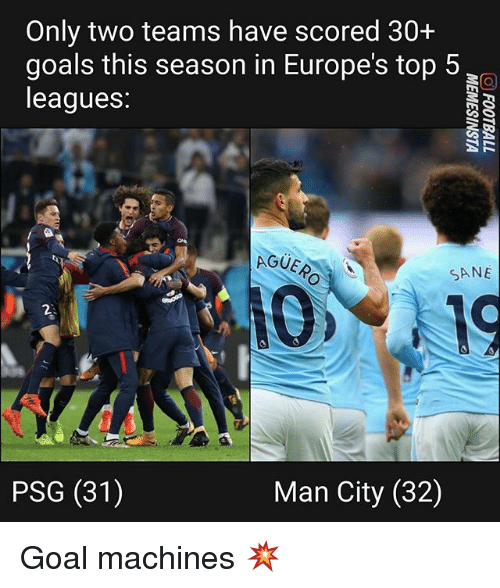 Goals, Memes, and Goal: Only two teams have scored 30+  goals this season in Europe's top 5  leagues:  AGUE  SANE  PSG (31)  Man City (32) Goal machines 💥