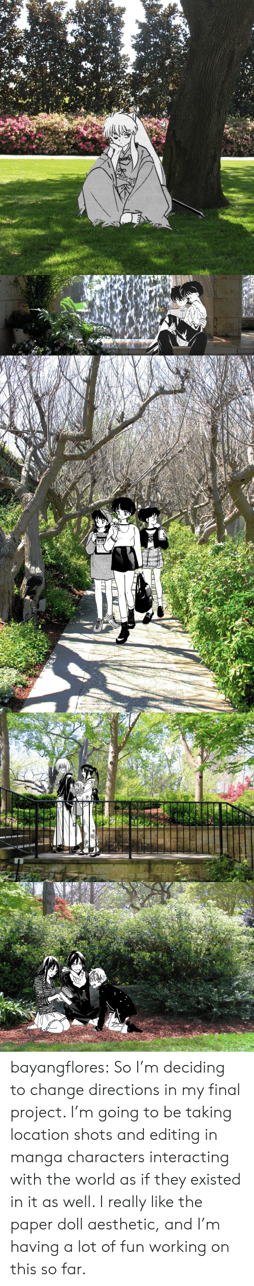 Deciding: ONLY   www bayangflores:  So I'm deciding to change directions in my final project. I'm going to be taking location shots and editing in manga characters interacting with the world as if they existed in it as well. I really like the paper doll aesthetic, and I'm having a lot of fun working on this so far.