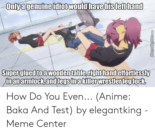 baka and test: Onlyagenuine tdiot would have his left hand  Super glued to a wooden table,right handeffortlessly  in an armlock, and legs in akiller wrestler leg lock.  MemeCentercom How Do You Even... (Anime: Baka And Test) by elegantking - Meme Center