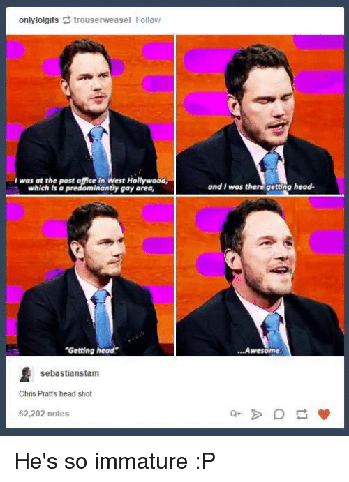 """Getting Head: onlylolgifs trouserweasel Follow  I was at the post e in West Hollywood,  which a predominantly gay area,  """"Getting head  sebastianstam  Chris Pratts head shot  62,202 notes  and I was there getting head.  Awesome He's so immature :P"""