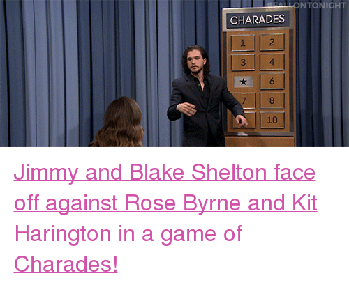 """charades: ONTONIGHT  CHARADES  7  10 <p><a href=""""https://www.youtube.com/watch?v=Gkt0IluX4hk&amp;index=5&amp;list=UU8-Th83bH_thdKZDJCrn88g"""" target=""""_blank"""">Jimmy andBlake Shelton face off against Rose Byrne and Kit Harington in a game of Charades!</a><br/></p>"""