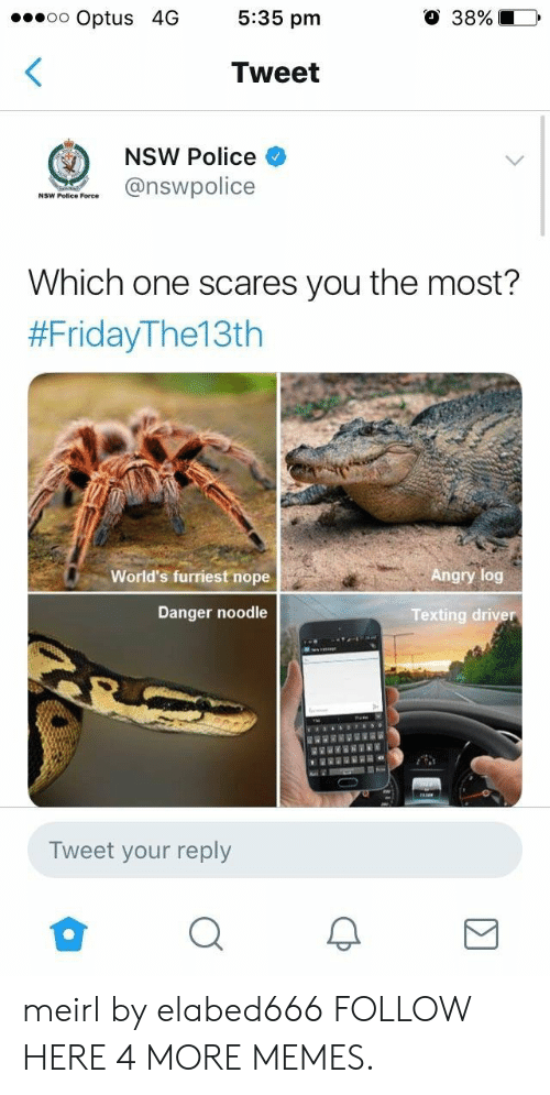 Danger Noodle: oo Optus 4G 5:35 pm  O 38%10,  Tweet  NSW Police  NSW Police Foree  Which one scares you the most?  #FridayThe13th  World's furriest nope  Angry log  Danger noodle  Texting driver  Tweet your reply meirl by elabed666 FOLLOW HERE 4 MORE MEMES.