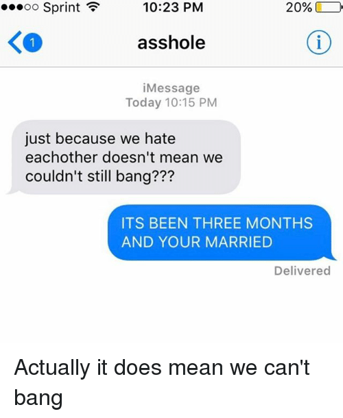 Relationships, Texting, and Means: ...oo Sprint F  20%  10:23 PM  asshole  i Message  Today 10:15 PM  just because we hate  each other doesn't mean we  couldn't still bang???  ITS BEEN THREE MONTHS  AND YOUR MARRIED  Delivered Actually it does mean we can't bang