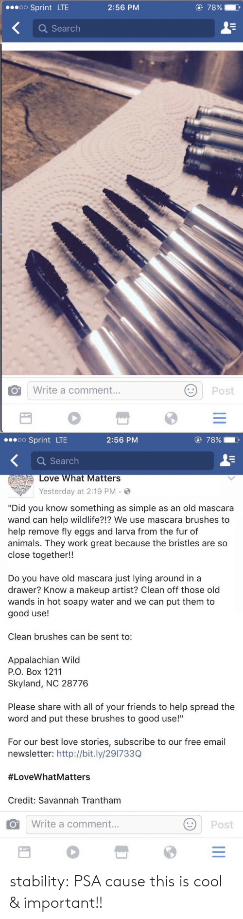 """psa: oo Sprint LTE  2:56 PM  78%  に  Q Search  O Write a comment..  Post   o Sprint LTE  2:56 PM  78%  Q Search  ove What Matters  Yesterday at 2:19 PM .  """"Did you know something as simple as an old mascara  wand can help wildlife?!? We use mascara brushes to  help remove fly eggs and larva from the fur of  animals. They work great because the bristles are so  close together!!  Do you have old mascara just lying around in a  drawer? Know a makeup artist? Clean off those old  wands in hot soapy water and we can put them to  good use!  Clean brushes can be sent to:  Appalachian Wild  Р.О. Box 1211  Skyland, NC 28776  Please share with all of your friends to help spread the  word and put these brushes to good use!""""  For our best love stories, subscribe to our free email  newsletter: http://bit.ly/291733Q  #LoveWhatMatters  Credit: Savannah Trantham  Write a comment  Post stability: PSA cause this is cool & important!!"""