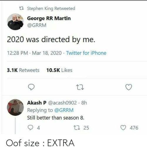Extra, Oof, and Size: Oof size : EXTRA