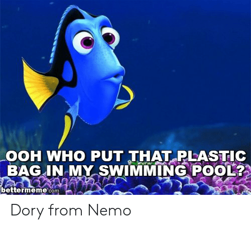 Nemo Meme: OOH WHO PUT THAT RLASTIC  BAG IN-MY SWIMMING POOL  MY SWIMMING PO012  bettermeme.com Dory from Nemo