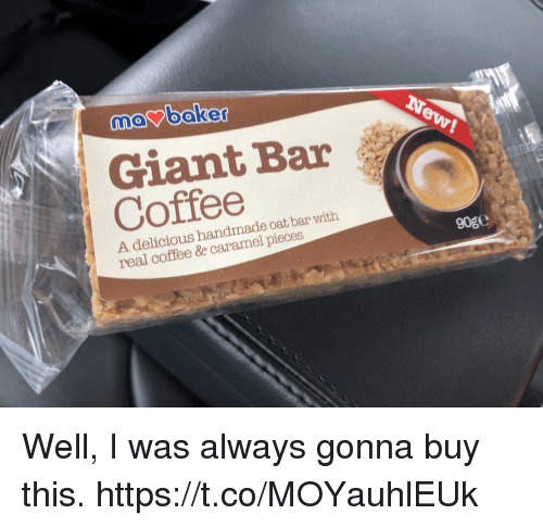 oat: ooker  Giant Bar  A delicious handmade oat bar with  real coffee &e caramel pieces  90g0 Well, I was always gonna buy this. https://t.co/MOYauhlEUk
