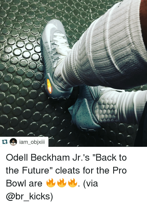 """Back to the Future, Future, and Odell Beckham Jr.: OOO  0000  ノr》 ), f  ノz) /) / e、 f, f  /ク/li) r、 /  Des-am-objxiii Odell Beckham Jr.'s """"Back to the Future"""" cleats for the Pro Bowl are 🔥🔥🔥. (via @br_kicks)"""