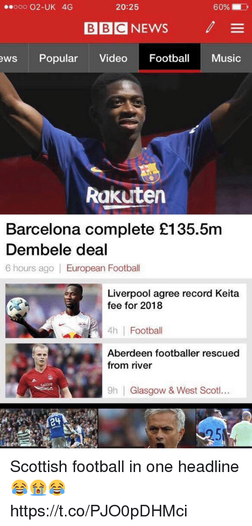 Ooo ~: ooo 02-UK 4G  20:25  60%.  BBC NEWS  /  ews Popular Video Footba Music  Rakutern  Barcelona complete £135.5m  Dembele deal  6 hours ago European Football  Liverpool agree record Keita  fee for 2018  4h Football  Aberdeen footballer rescued  from river  tire  9h  Glasgow & West Scoti.. Scottish football in one headline 😂😭😂 https://t.co/PJO0pDHMci