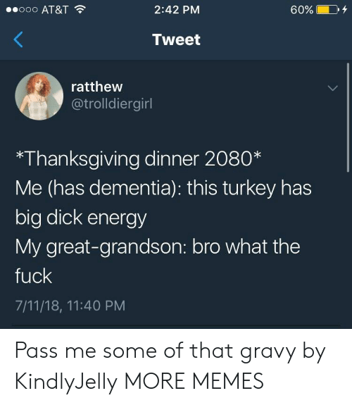 7/11: ooo AT&T  2:42 PM  60%  Tweet  ratthew  @trolldiergirl  *Thanksgiving dinner 2080*  Me (has dementia): this turkey has  big dick energy  My great-grandson: bro what the  fuck  7/11/18, 11:40 PM Pass me some of that gravy by KindlyJelly MORE MEMES