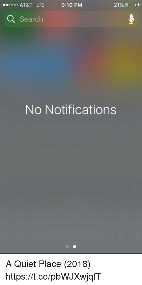 At&t, Quiet, and Search: ooo AT&T LTE  9:10 PM  21%) 104  Q Search  No Notifications A Quiet Place (2018) https://t.co/pbWJXwjqfT