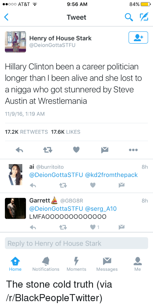 steve austin: ooo AT&T T  9:56 AM  84%  Tweet  Henry of House Stark  @DeionGottaSTFU  Hillary Clinton been a career politician  longer than I been alive and she lost to  a nigga who got stunnered by Steve  Austin at Wrestlemania  11/9/16, 1:19 AM  17.2K RETWEETS 17.6K LIKES  ai @burritoito  @DeionGottaSTFU @kd2fromthepack  8h  13  Garrett▲ @GBG8R  @DeionGottaSTFU @serg_A10  LMFAOOOOOOooooOOO  8h  Reply to Henry of House Stark  Home  Notifications Moments Messages  Me <p>The stone cold truth (via /r/BlackPeopleTwitter)</p>
