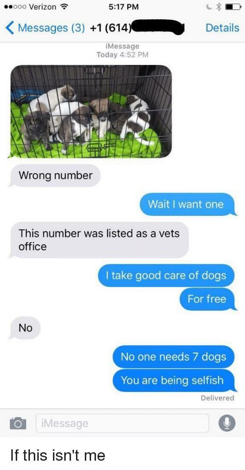 Relatable, List, and Officer: ooo Verizon  5:17 PM  K Messages (3)  +1 (614.  Details  i Message  Today 4:52 PM  Wrong number  Wait I want one  This number was listed as a vets  office  I take good care of dogs  For free  No  No one needs 7 dogs  You are being selfish  Delivered  Oil Message If this isn't me