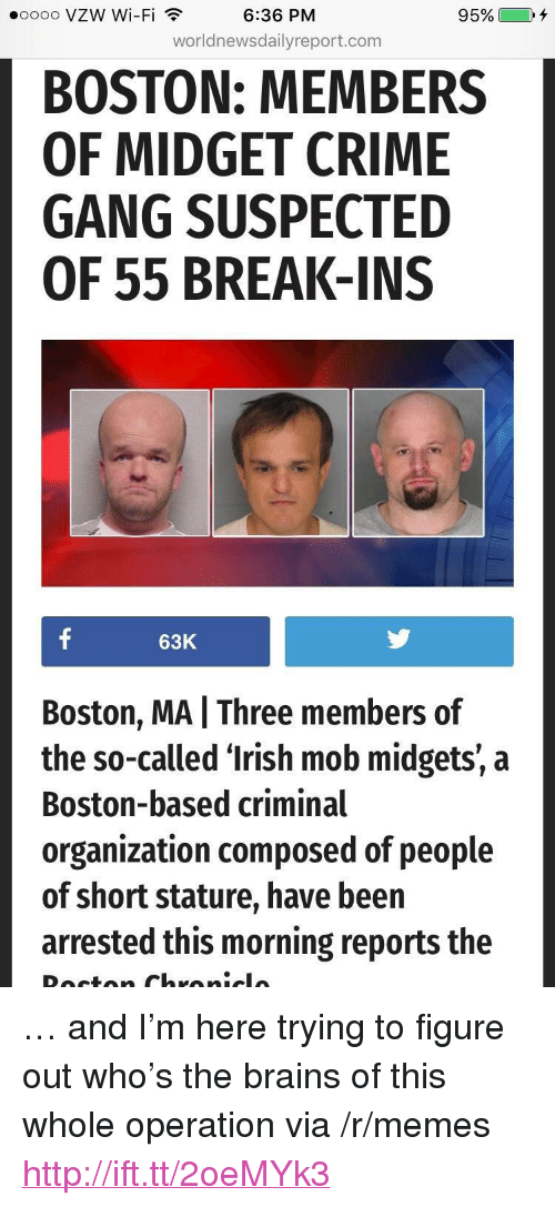 """oooo: oooo vzW Wi-Fi  6:36 PM  95%  ).  worldnewsdailyreport.com  BOSTON: MEMBERS  OF MIDGET CRIME  GANG SUSPECTED  OF 55 BREAK-INS  63K  Boston, MA I Three members of  the so-called 'Irish mob midgets, a  Boston-based criminal  organization composed of people  of short stature, have been  arrested this morning reports the <p>&hellip; and I&rsquo;m here trying to figure out who&rsquo;s the brains of this whole operation via /r/memes <a href=""""http://ift.tt/2oeMYk3"""">http://ift.tt/2oeMYk3</a></p>"""