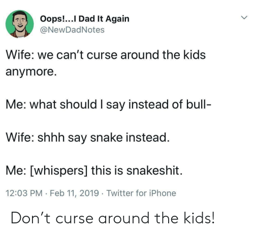 shhh: Oops!...I Dad It Again  @NewDadNotes  Wife: we can't curse around the kids  anymore  Me: what should I say instead of bull-  Wife: shhh say snake instead  Me: [whispers] this is snakeshit  12:03 PM Feb 11, 2019 Twitter for iPhone Don't curse around the kids!
