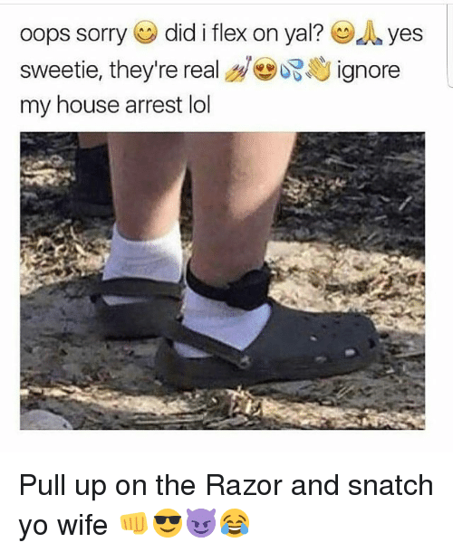 Flexing, Funny, and Lol: oops sorry (eg) did i flex on yal? dyes  sweetie, they're real d㊥ぶじignore  my house arrest lol Pull up on the Razor and snatch yo wife 👊😎😈😂