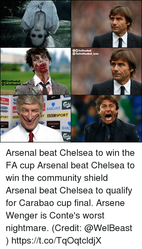 Barclays: OOTrollFootball  TheTrollfootball_Insta  O Trollfooballt  TheTrollFootballInstat+  -  Ely  nirates  ar  BARCLAYS  LAYS  PORT B8CS  RT  BBC  LAYS  #MAKEITCOUNT  BARC  ar Arsenal beat Chelsea to win the FA cup Arsenal beat Chelsea to win the community shield Arsenal beat Chelsea to qualify for Carabao cup final.  Arsene Wenger is Conte's worst nightmare.  (Credit: @WelBeast ) https://t.co/TqOqtcldjX