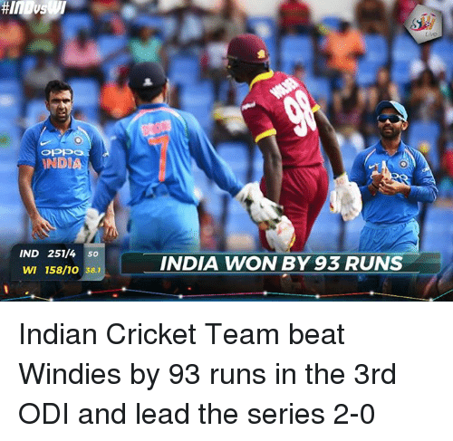 odi: OPE  NDIA  IND 251/4 so  INDIA WON BY 93 RUNS  WI 158/10 38.1 Indian Cricket Team beat Windies by 93 runs in the 3rd ODI and lead the series 2-0