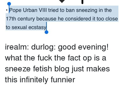 good evening: ope Urban VIll tried to ban sneezing in the  17th century because he considered it too close  to sexual ecstas irealm: durlog: good evening! what the fuck  the fact op is a sneeze fetish blog just makes this infinitely funnier