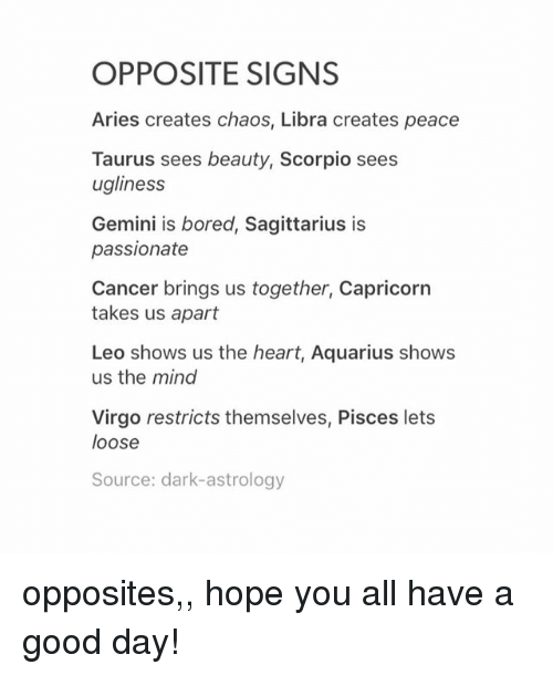 What is the opposite sign of libra