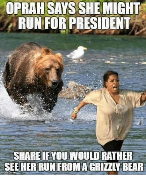 Memes, Oprah Winfrey, and Run: OPRAH SAYS SHE MIGHT  RUNFOR PRESIDENT  SHARE IFYOU WOULD RATHER  SEE HER RUN FROM A GRIZZLY BAR