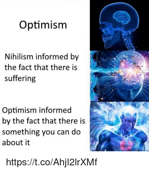 Memes, Nihilism, and Optimism: Optimism  Nihilism informed by  the fact that there is  suffering  Optimism informed  by the fact that there is  something you can do  about it https://t.co/AhjI2lrXMf