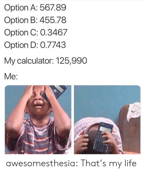 Thats My: Option A: 567.89  Option B: 455.78  Option C: 0.3467  Option D: 0.7743  My calculator: 125,990  Me: awesomesthesia:  That's my life