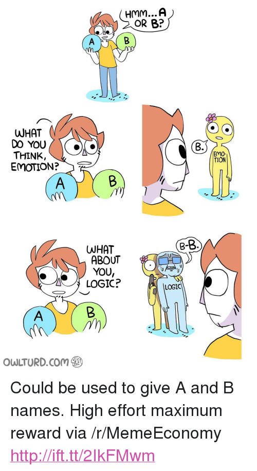 """Emo, Logic, and Http: OR B?  WHAT  DO YOU  THINK,  EMOTION?  B.  EMO-  TION  B-  WHAT  ABOUT  YOU,  LOGIC?  LOGIC  owLTURD.com@③ <p>Could be used to give A and B names. High effort maximum reward via /r/MemeEconomy <a href=""""http://ift.tt/2IkFMwm"""">http://ift.tt/2IkFMwm</a></p>"""